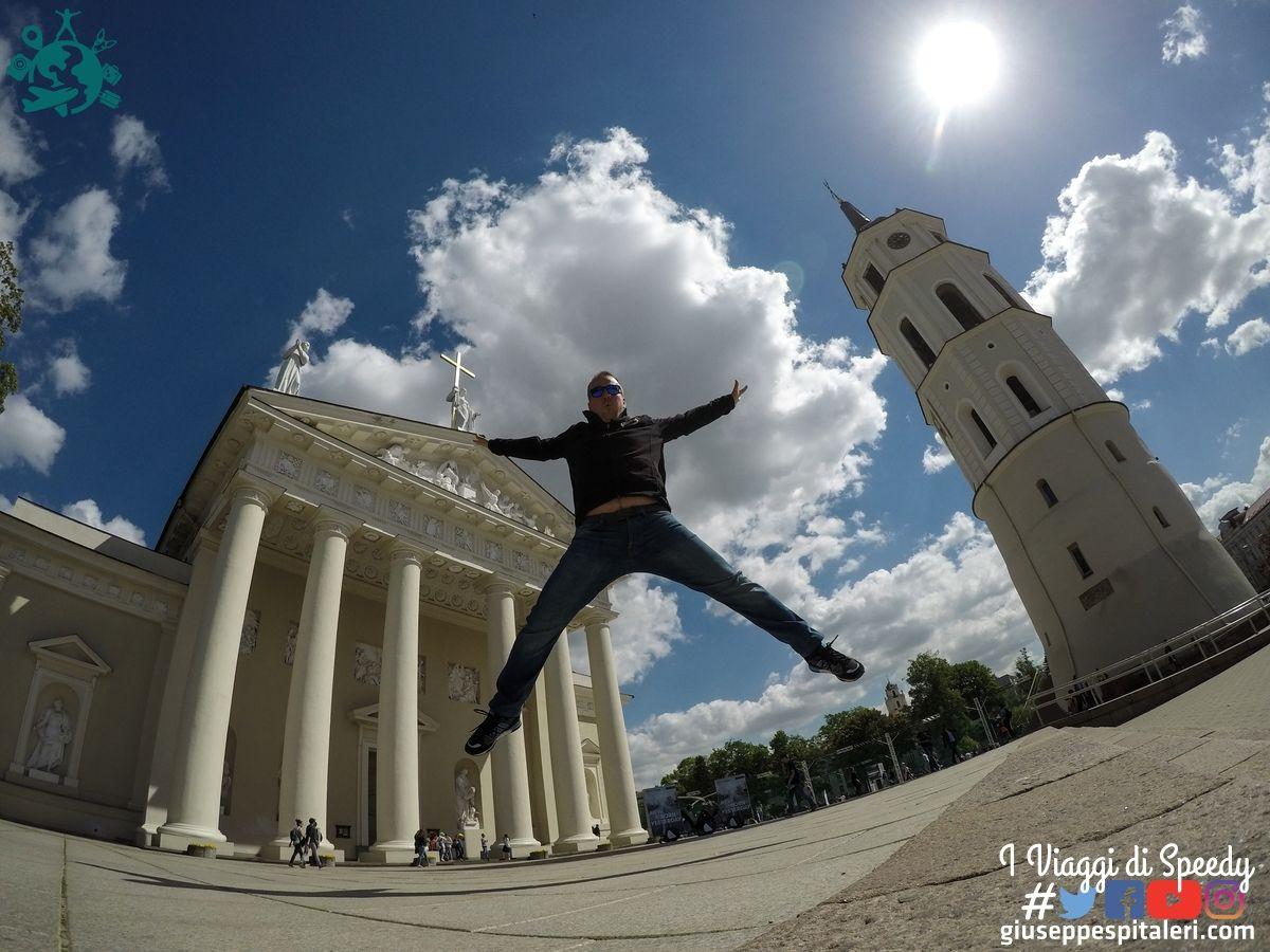 Un salto alla Cattedrale metropolitana dei Santi Stanislao e Ladislao con la torre campanaria di Gedimino, alta 57 metri. di Vilnius (Lettonia)